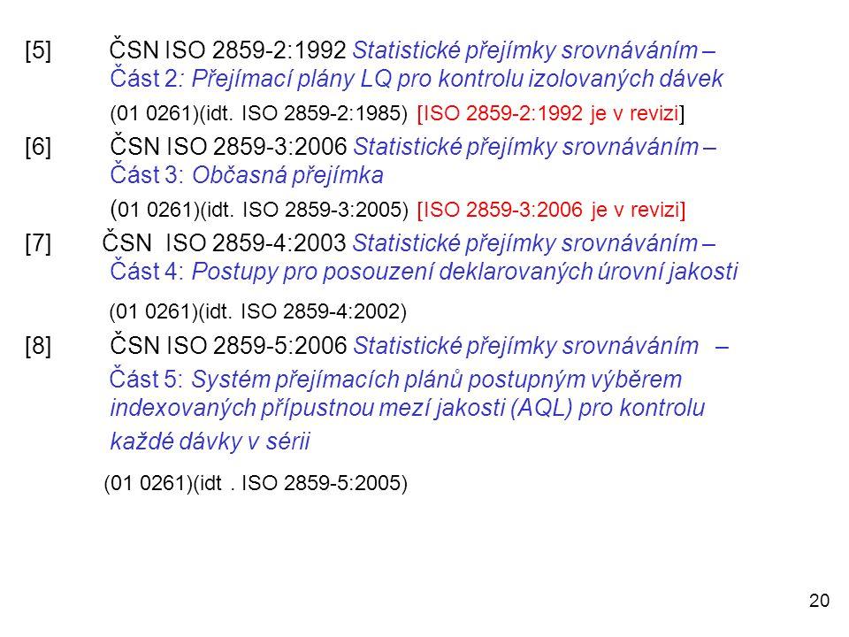 [5]. ČSN ISO 2859-2:1992 Statistické přejímky srovnáváním –
